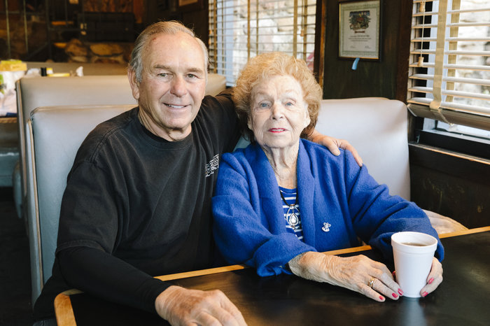 Rich Savko and his mother, Vern, at the Rock Store.