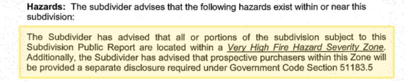 The fine print in the Andorra Lane Subdivision Public Report.