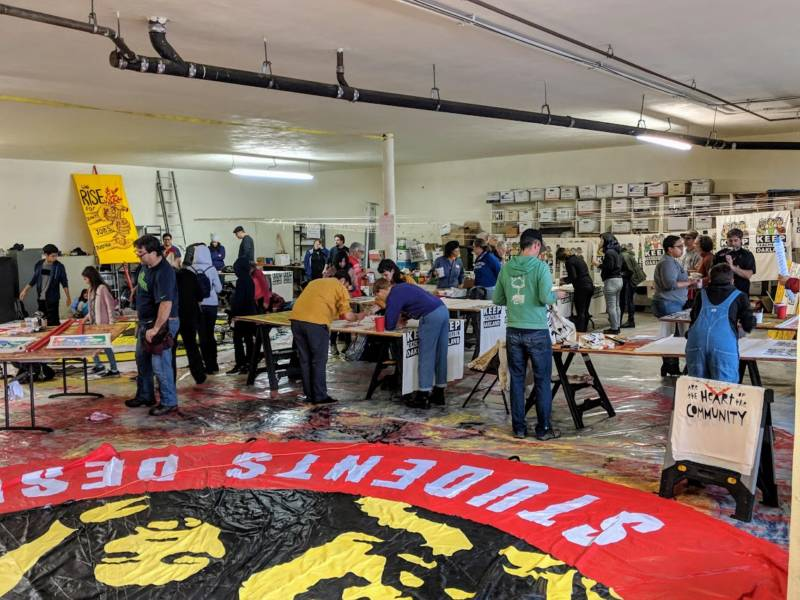 This was the third day of the Art Build, which brought together educators, parents and students to create protest art.