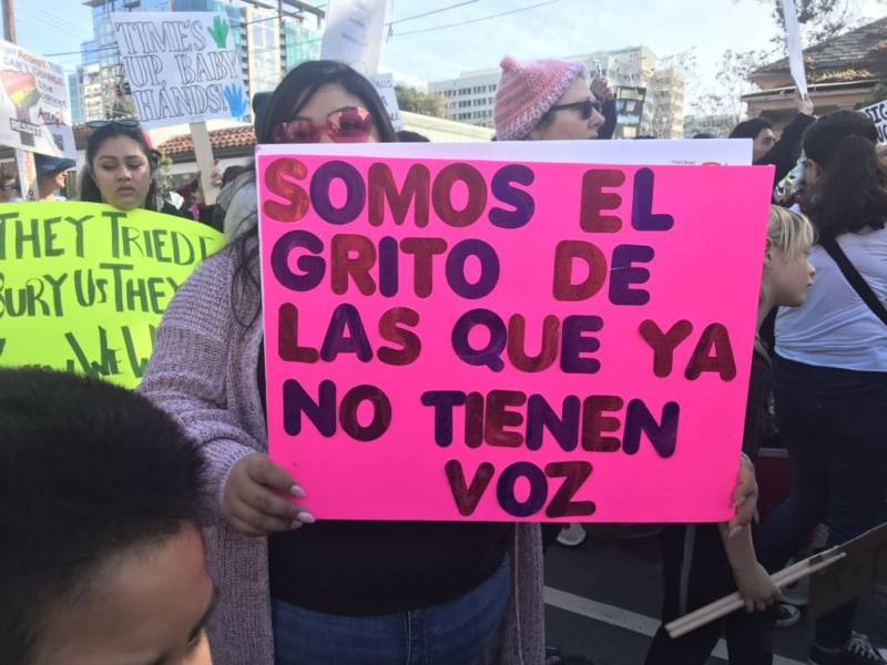 A woman carries a sign at the San Jose Women's March with a familiar Spanish rallying cry which reads, 'We are the cry of those who no longer have a voice.'