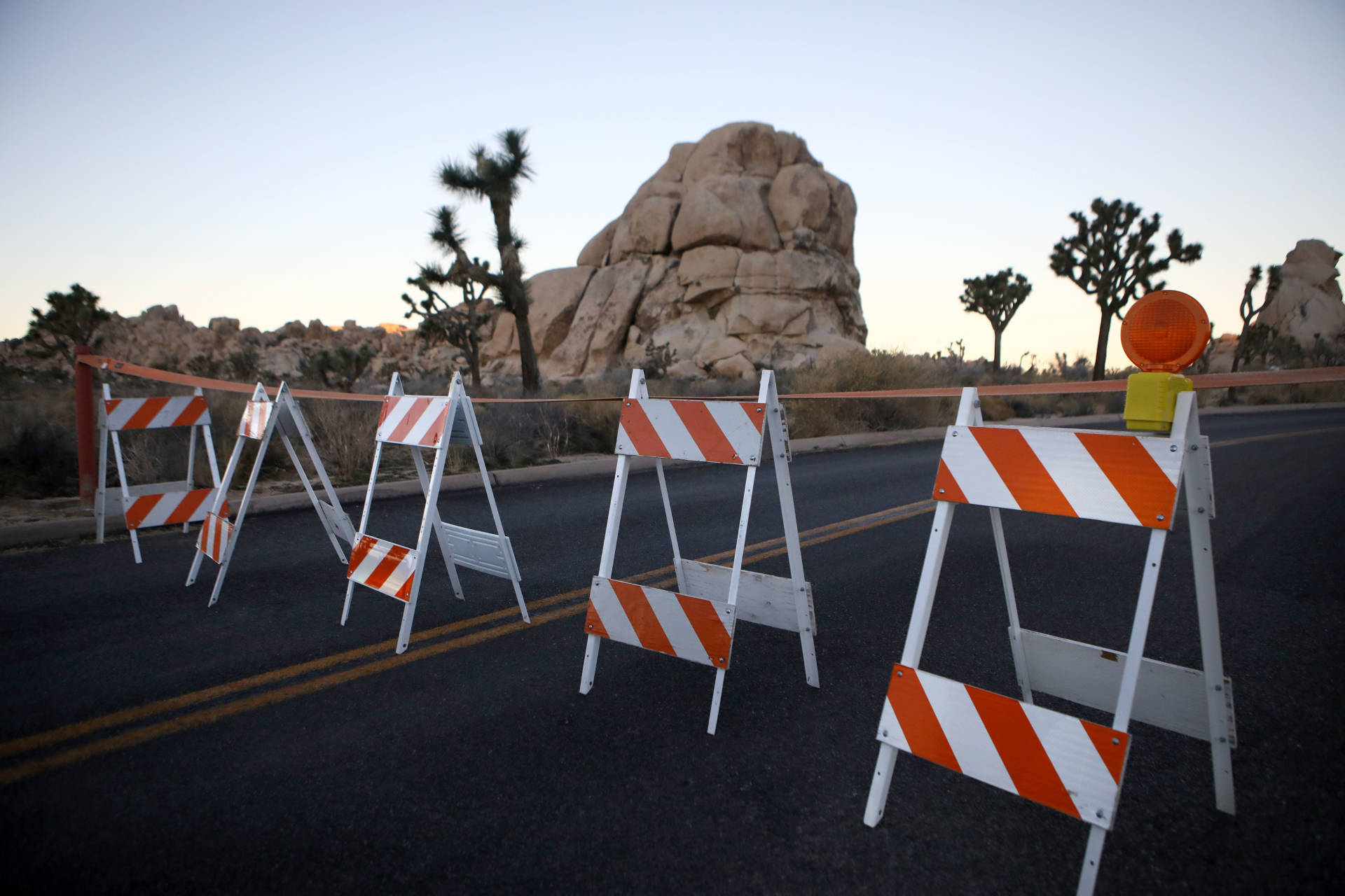 Barricades block a closed campground at Joshua Tree National Park on January 4, 2019. Campgrounds and some roads have been closed at the park due to safety concerns as the park is drastically understaffed during the partial government shutdown.  Mario Tama/Getty Images