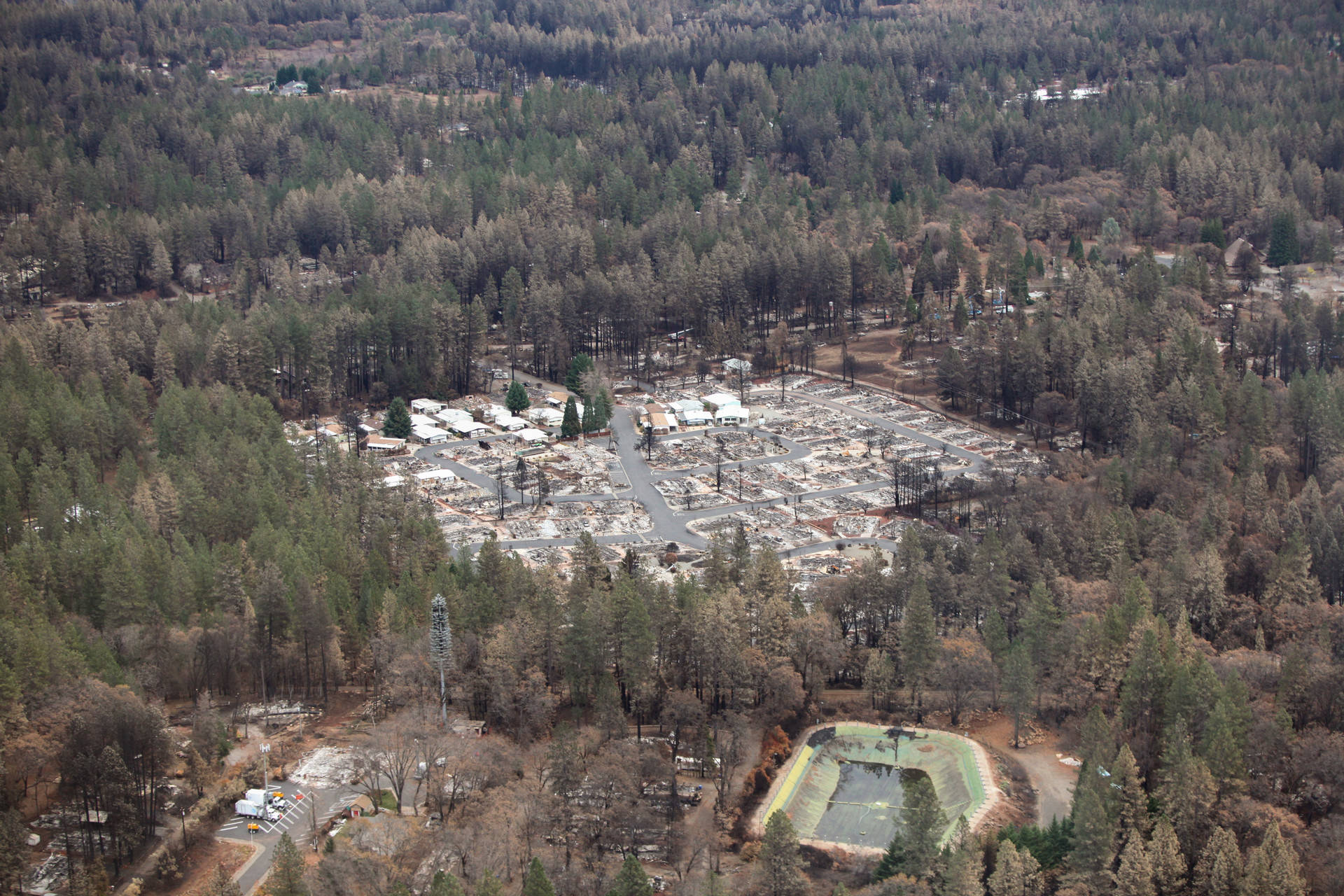 An aerial view of Paradise nearly a month after the Camp Fire decimated the town. Adam Grossberg/KQED