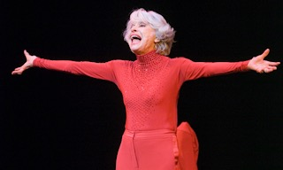 Carol Channing on stage at Feinsteins in New York.