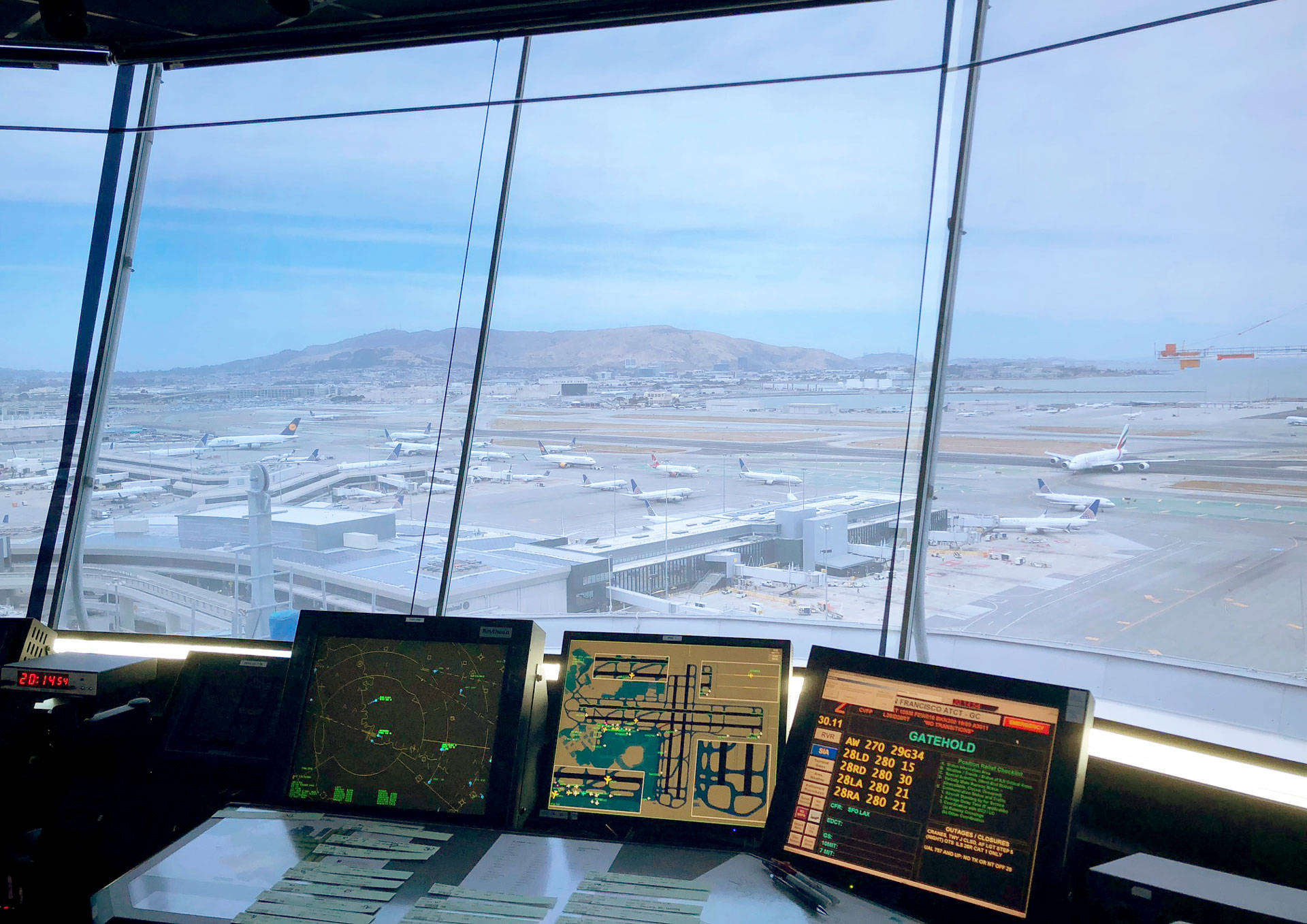 An air traffic controller's view looking northwest from San Francisco International Airport's control tower. Air traffic controllers at SFO and across the nation won't receive a paycheck on Friday due to the partial government shutdown. Courtesy of Frederick Naujoks