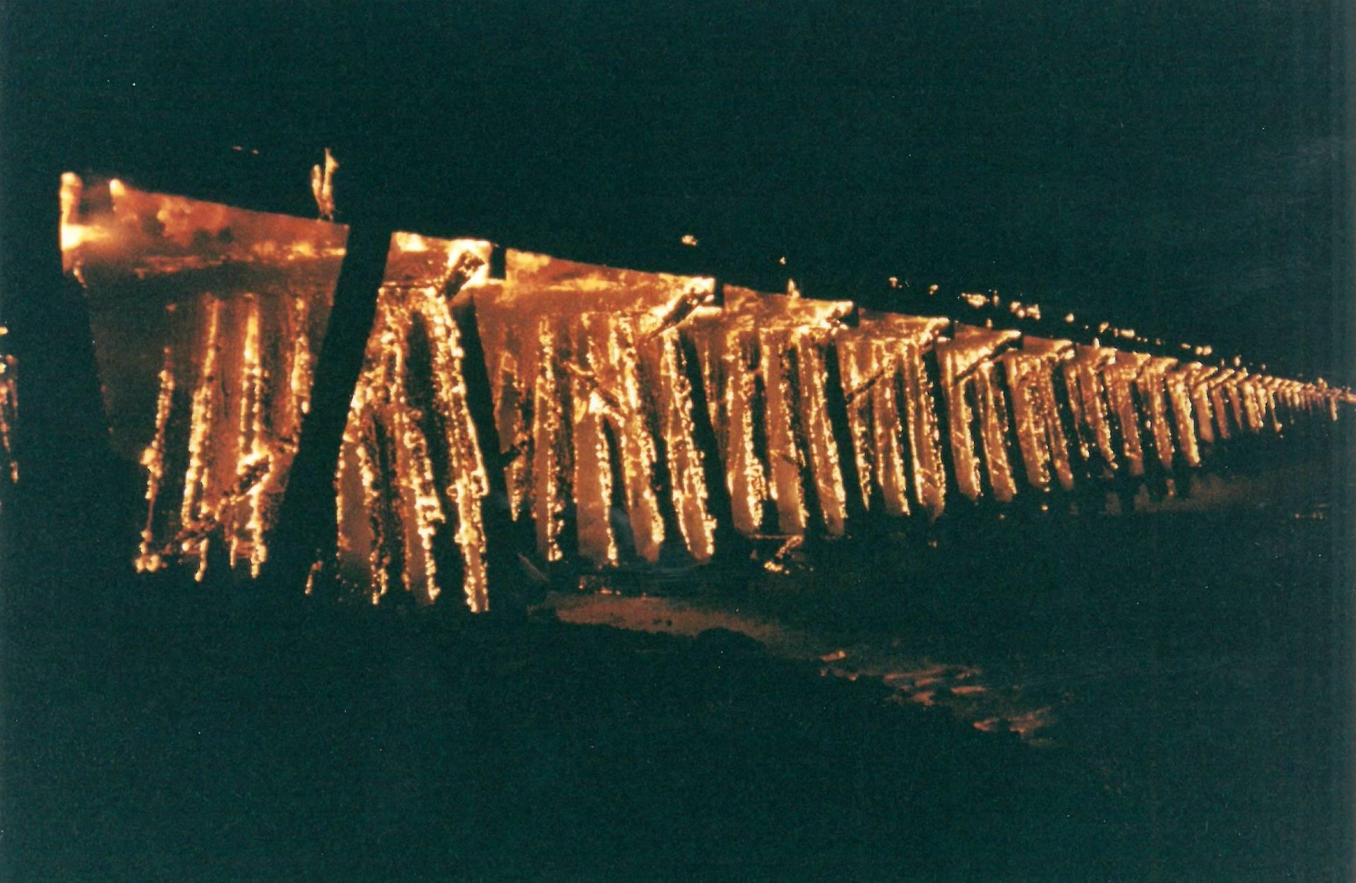 The Dumbarton Rail Bridge trestle on fire on Jan. 3, 1998. Ben Cheng/Menlo Park Fire District