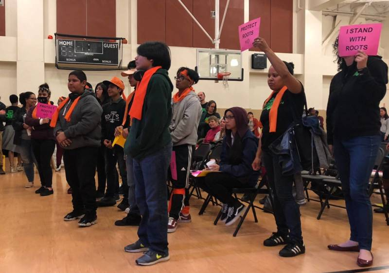 Parents, teachers and community members attend an Oakland school board meeting. Jan. 9, 2019