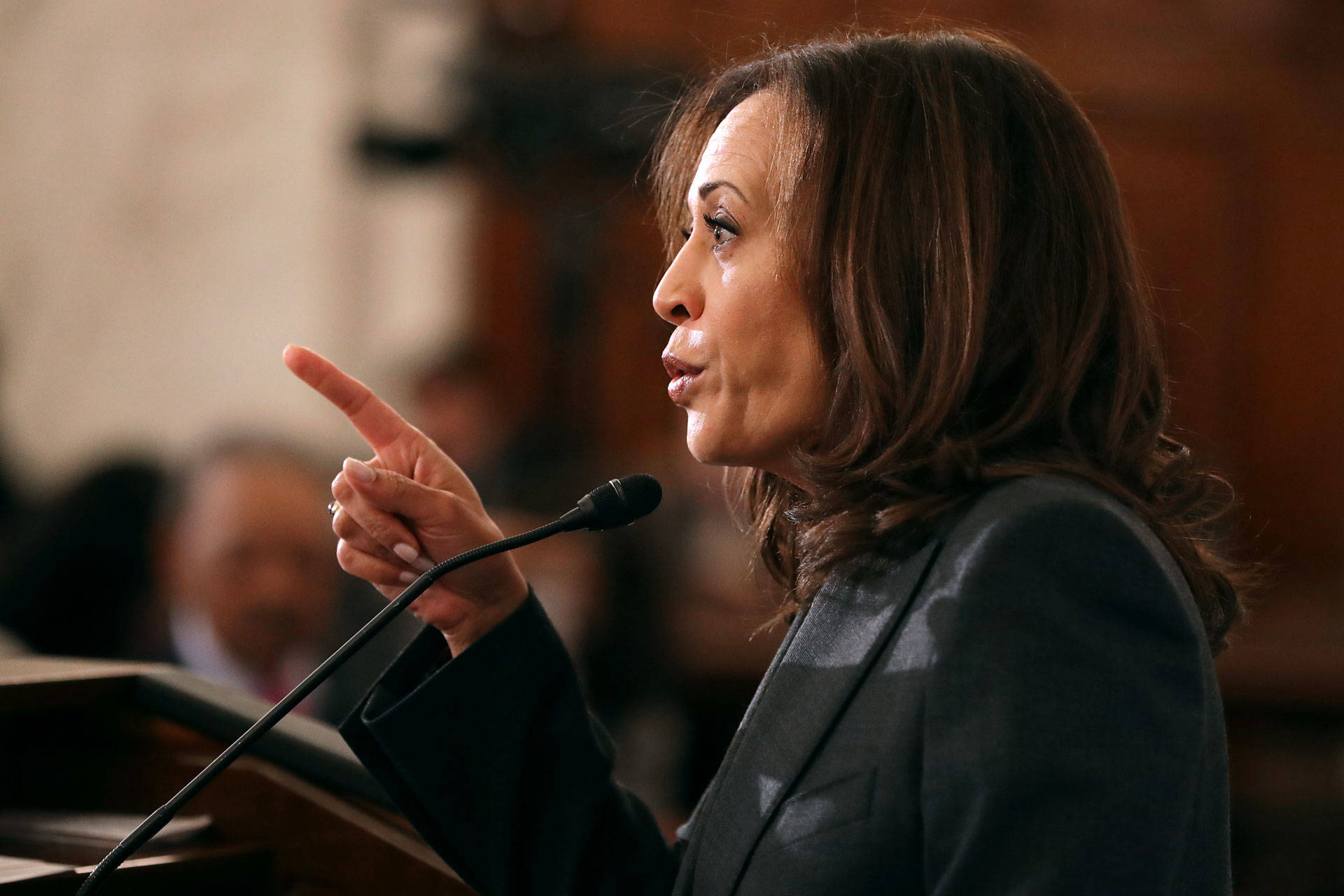 Sen. Kamala Harris addresses a post-midterm election meeting on Nov. 13, 2018 on Capitol Hill. Chip Somodevilla/Getty Images