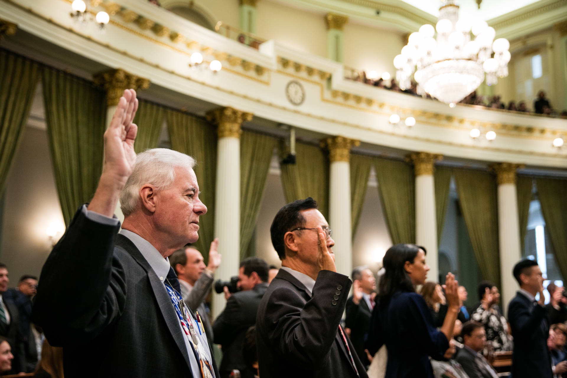 Republican Assemblyman Randy Voepel takes the oath of office in the California Assembly, Dec. 3, 2018, at the State Capitol in Sacramento. California prides itself on diversity, but in many ways the Legislature looks more like the California of 30 years ago than the California of today.  Max Whittaker/CALmatters