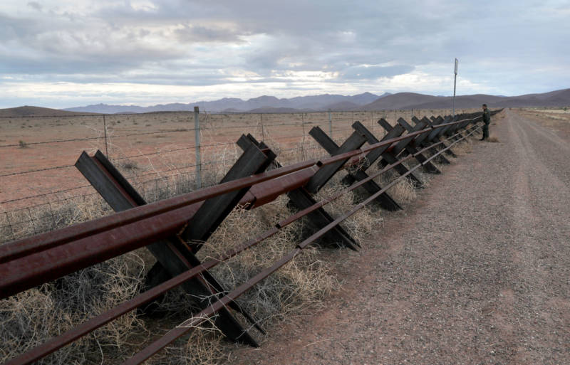 A 'Normandy'-style border fence stretches along the U.S.-Mexico border on January 30, 2019 in Antelope Wells, New Mexico.