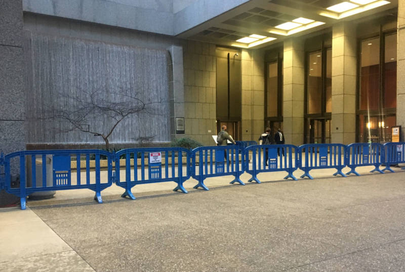 A barricade stood in front of PG&E's San Francisco headquarters on Jan. 14, 2019, the day the company announced it plans to file for bankruptcy protection.