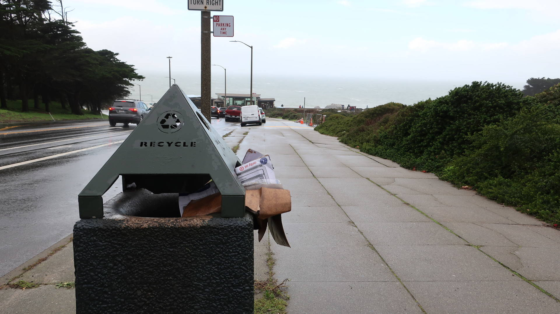 Recycling is stuffed into a bin at Lands End in San Francisco on Jan. 5, 2018. Reps. Jackie Speier and Jared Huffman gathered with volunteers to collect trash at Lands End and Ocean Beach during the government shutdown. Michelle Wiley/KQED