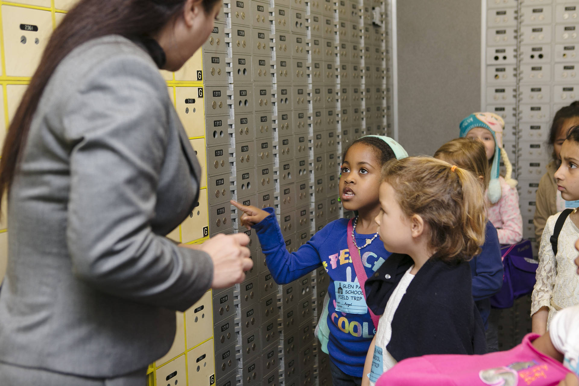 San Francisco kindergartners take a field trip to the bank in 2016 as part of the city's Kindergarten to College savings program. Kara Brodgesell, courtesy of the San Francisco Treasurer's Office