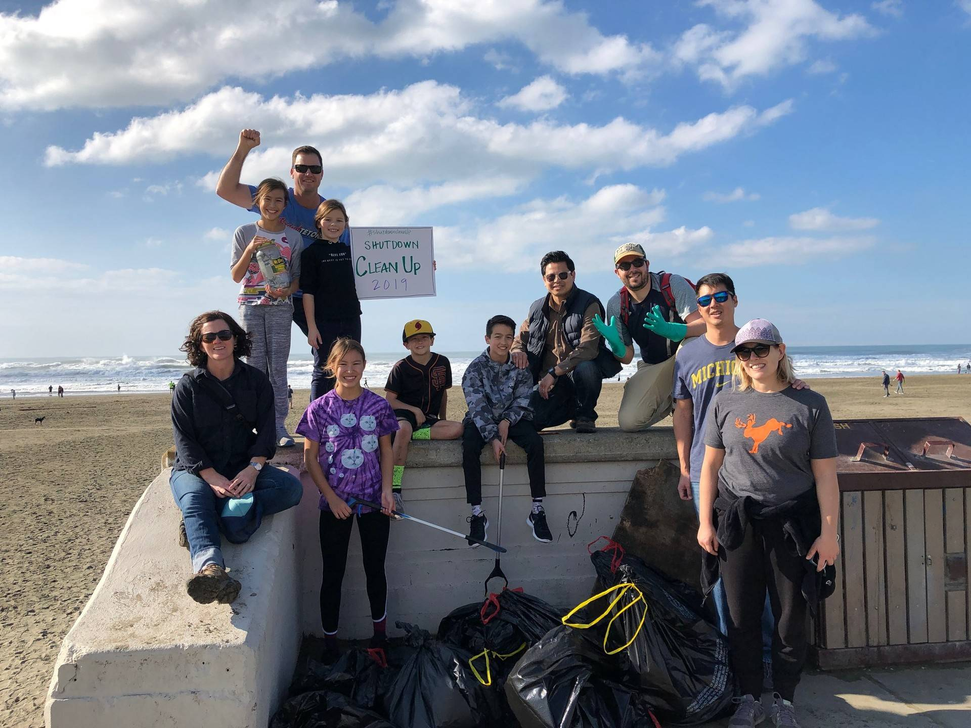 Volunteers picked up trash at Ocean Beach on Jan. 17, 2019, in a cleanup organized by #ShutdownCleanup. Courtesy ShutdownCleanup