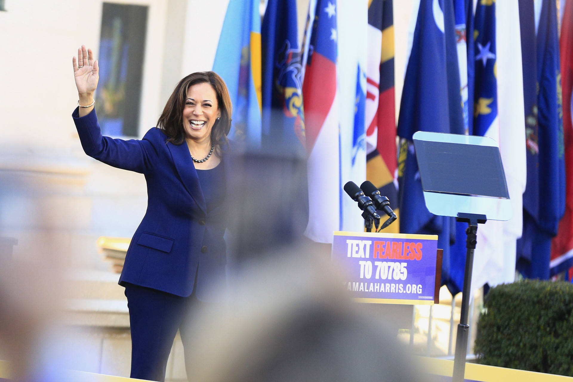 Sen. Kamala Harris formally launched her 2020 presidential campaign at a rally at Frank Ogawa Plaza in Oakland on Jan. 27, 2019. Stephanie Lister/KQED