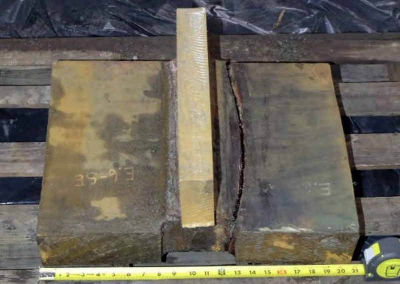 A section of one of two Transbay Transit Center girders that were found cracked last September, forcing the facility's long-term closure.