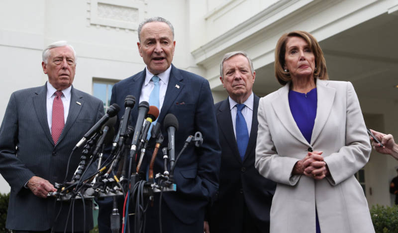 Democratic congressional leaders speak to the media outside the White House on Friday. House Majority Leader Steny Hoyer (from left), Senate Minority Leader Chuck Schumer, Democratic Whip Sen. Dick Durbin and House Speaker Nancy Pelosi met with President Trump about the shutdown.