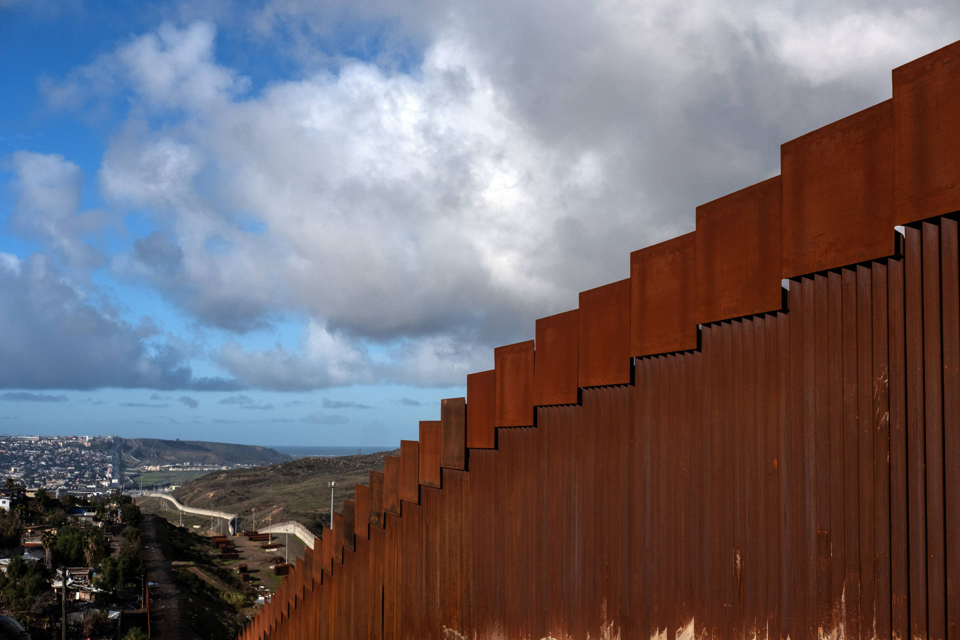 A section of the reinforced U.S.-Mexico border fence as seen from Tijuana, Mexico, on Sunday. Guillermo Arias/AFP/Getty Images