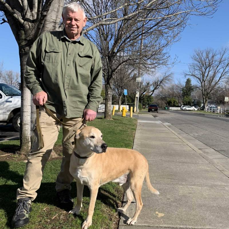 Brian Grahlman and his dog, Scout, narrowly escaped the Camp Fire. His home in Paradise was destroyed, and for now he is living with his daughter in Chico.