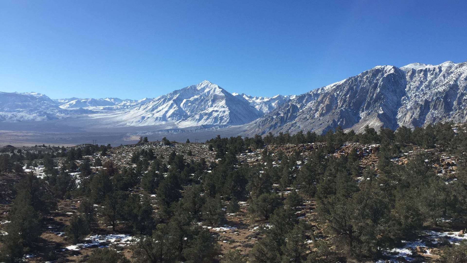 The Eastern Sierra Nevada  near Mammoth Lakes. The town is surrounded by U.S. Forest Service and Bureau of Land Management land and, with the government shutdown, 'the landlords are absent.' Kirk Siegler/NPR