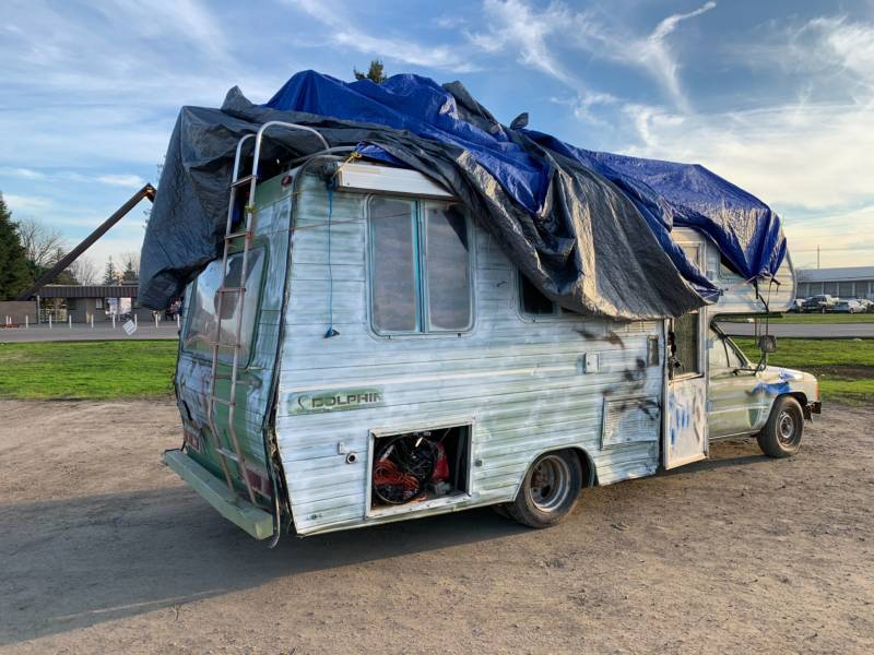 An abandoned RV at the last remaining Red Cross shelter providing housing for victims of the Camp Fire.