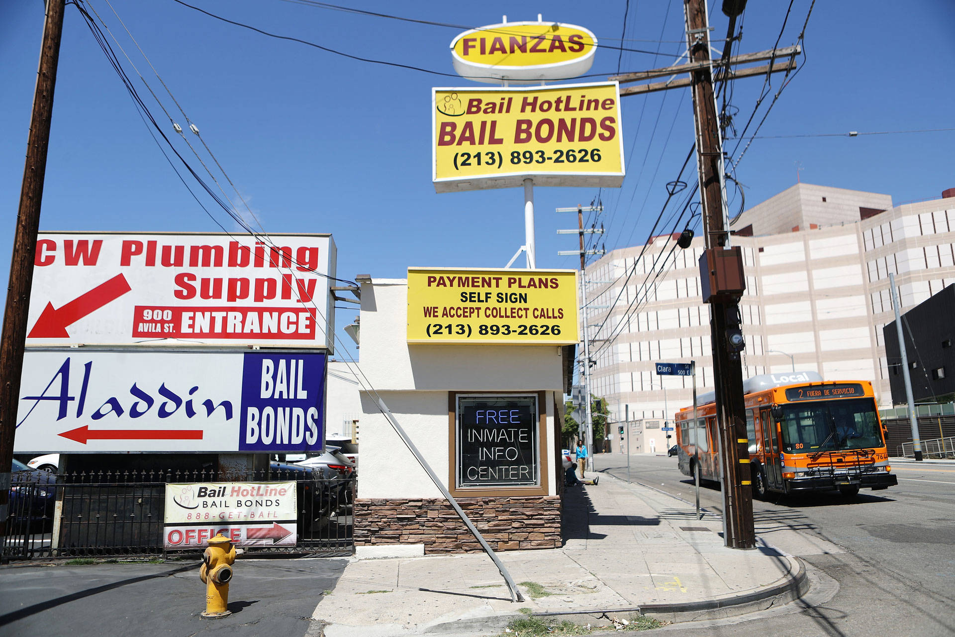 Signs advertise bail bond companies next to the Twin Towers Correctional Facility (R) on August 29, 2018 in Los Angeles. Mario Tama/Getty Images
