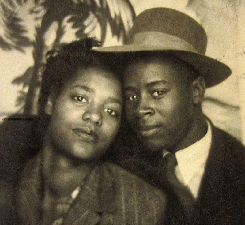 Bertha Mae and Benjamin Beavers in Oklahoma around 1945.