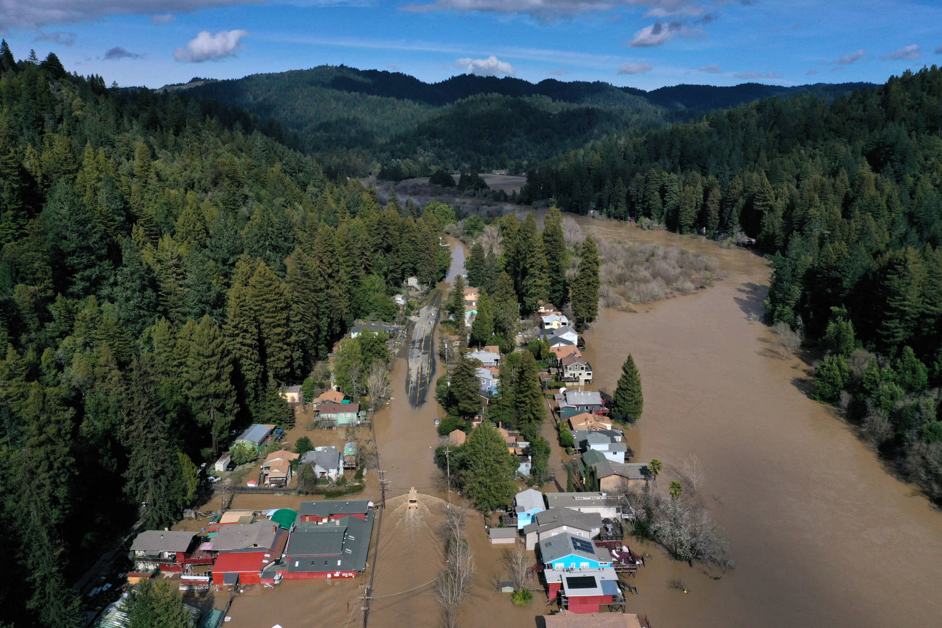 An aerial view of a flooded neighborhood on Feb. 28, 2019, in Guerneville. Justin Sullivan/Getty Images