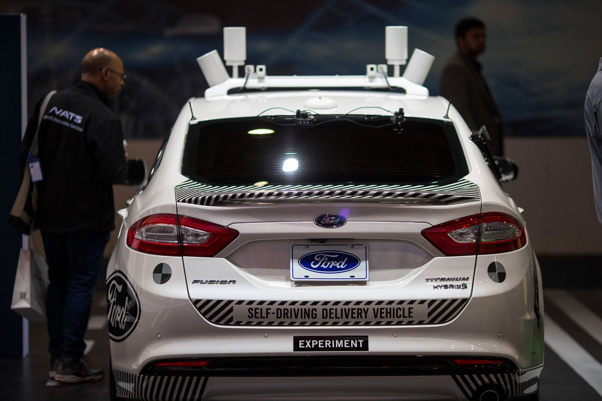 An experimental Ford Fusion self-driving delivery car is displayed at CES in Las Vegas, Nevada. David McNew/AFP/Getty Images