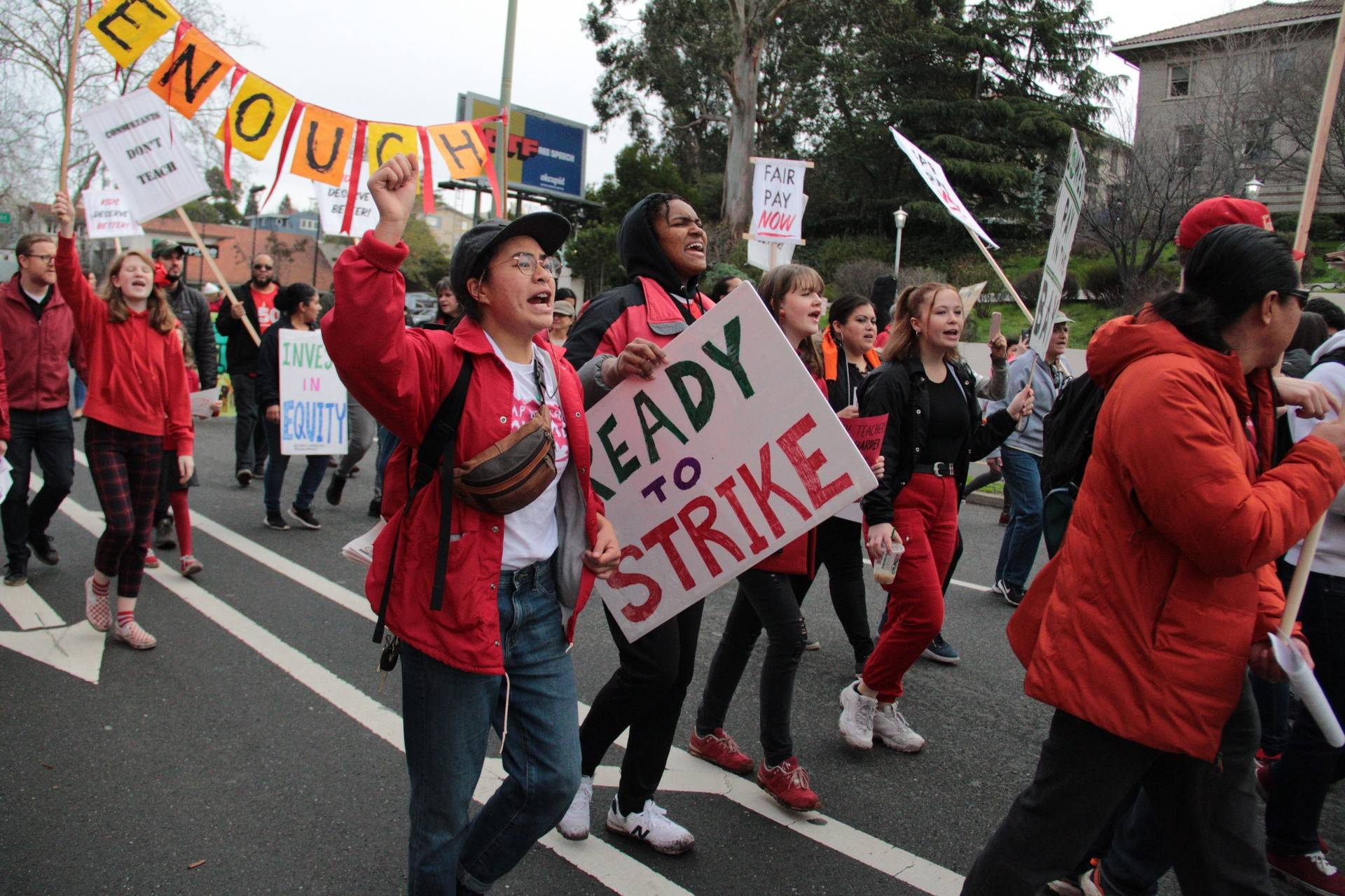 Oakland teachers march during an unsanctioned 'sickout' on Jan. 18, 2019. On Saturday, the teachers union announced that the teachers would go on strike starting Thursday, Jan. 21. Monica Lam/KQED