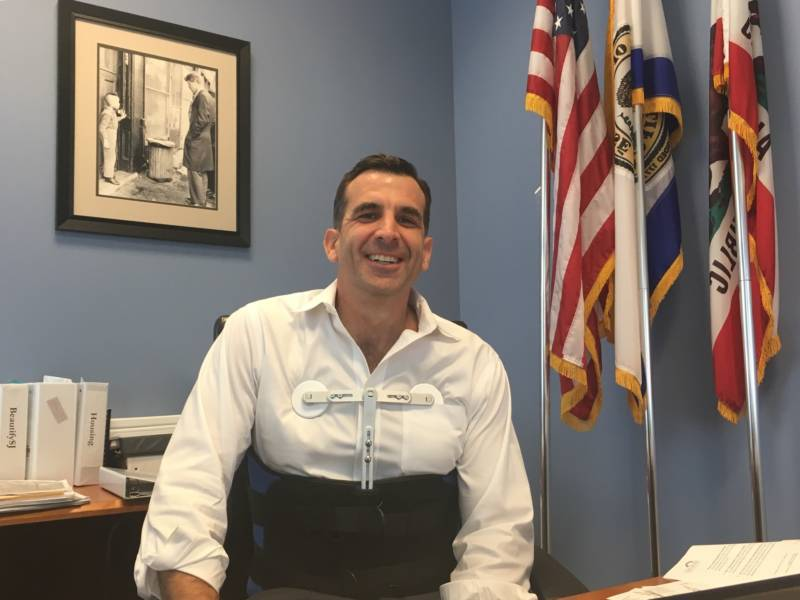 San Jose Mayor Sam Liccardo, who's still in a body brace after an SUV hit him while he was cycling in the city January 1, 2019.
