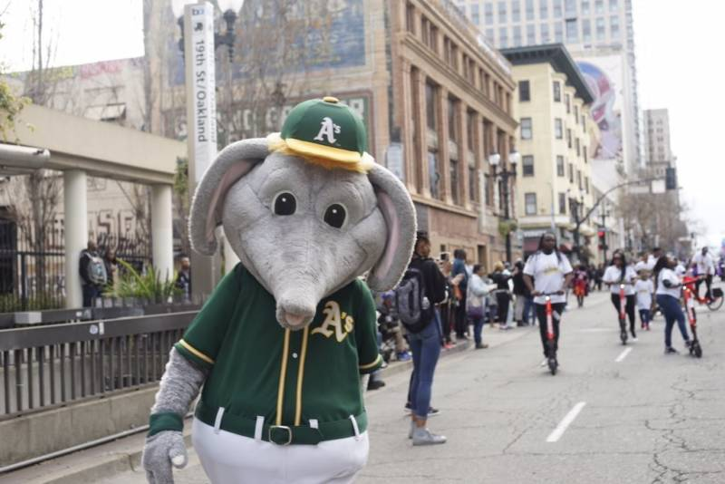 Oakland A's mascot Stomper gets into the swing of the Black Joy Parade.
