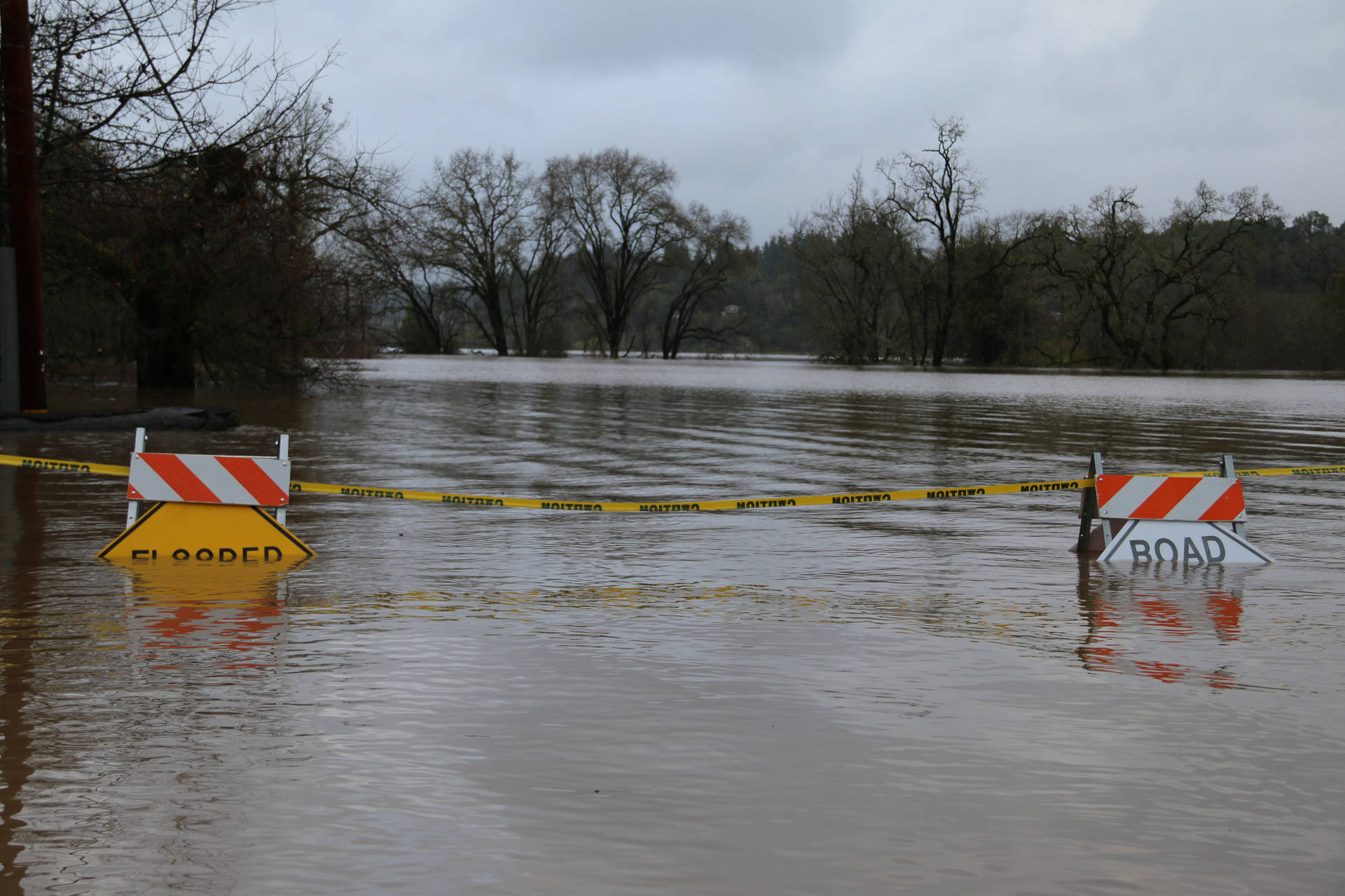 Wohler Road flooded and closed at River Road during Russian River flooding in Sonoma County on Feb. 27, 2019. Adam Grossberg/KQED