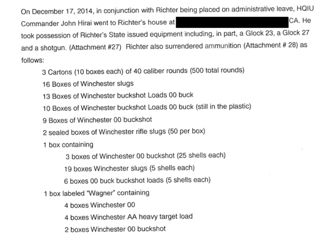 A portion of the records from the Department of Consumer Affairs administrative investigation into Steven Richter lists some of the ammunition recovered from his home.