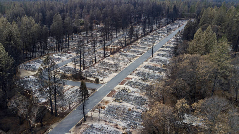 Homes leveled by the Camp Fire line the Ridgewood Mobile Home Park retirement community in Paradise seen last December.
