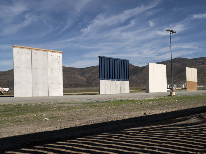 Border wall prototypes stand in San Diego near the Mexico U.S. border, seen from Tijuana. A federal court ruled Monday that the Department of Homeland Security had the authority to waive environmental regulations in constructing the prototypes.