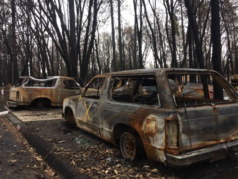 Many of the lots in the burned out towns above Chico still have the charred remains of cars that need to be cleared out.