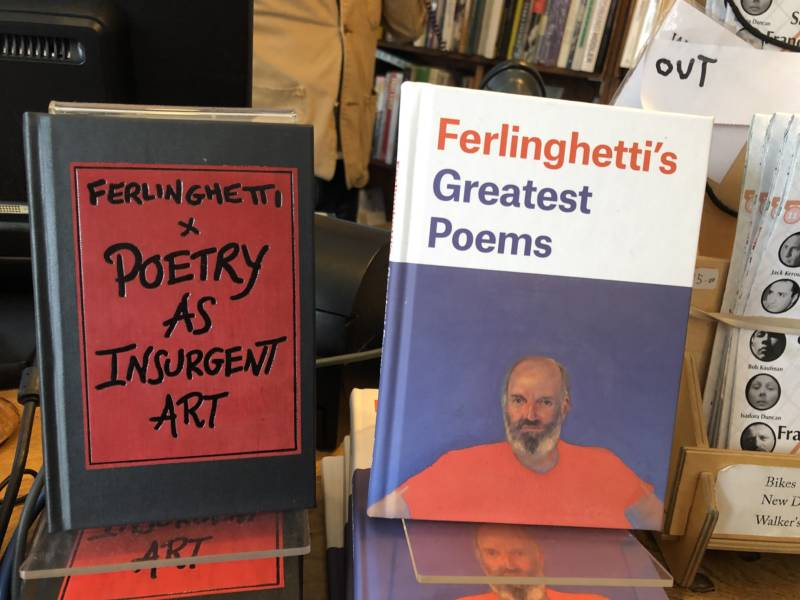 Volumes of poetry by Lawrence Ferlinghetti.