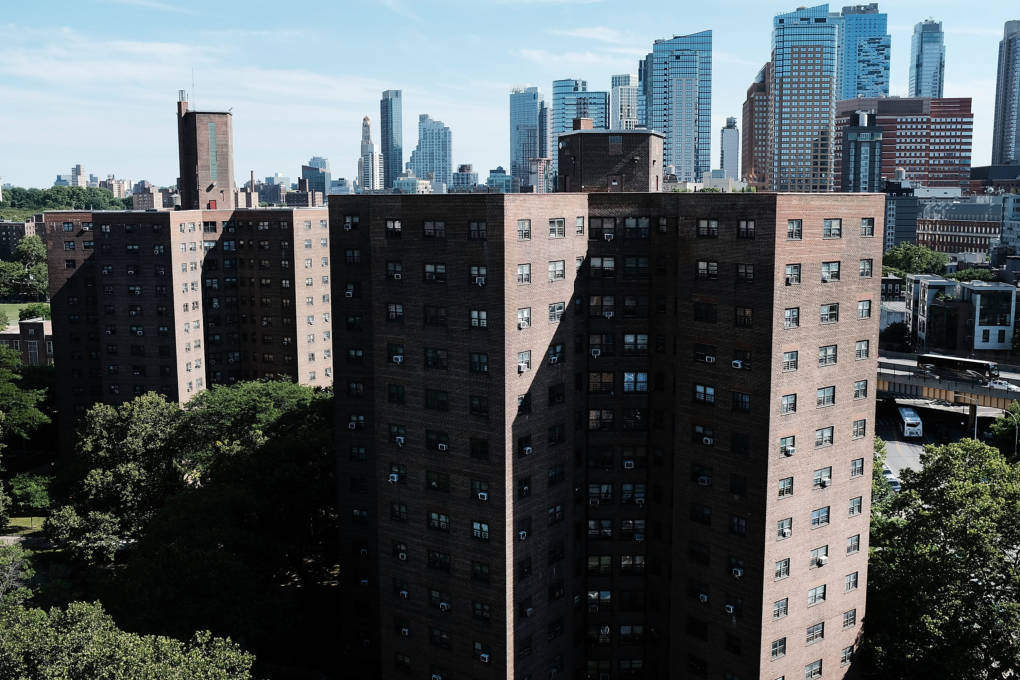 Public housing stands in Brooklyn on June 11, 2018 in New York City. Investigators claim that water leaks,holes in walls, lead paint, mold, malfunctioning elevators and rats were a part of daily life for the thousands of residents living in public housing.