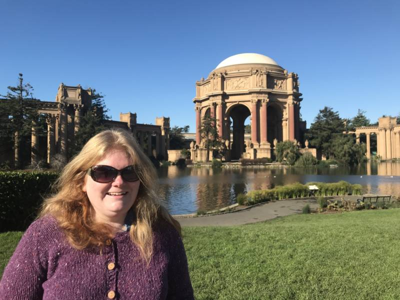 Emily Stauffer in front of the Palace of Fine Arts.