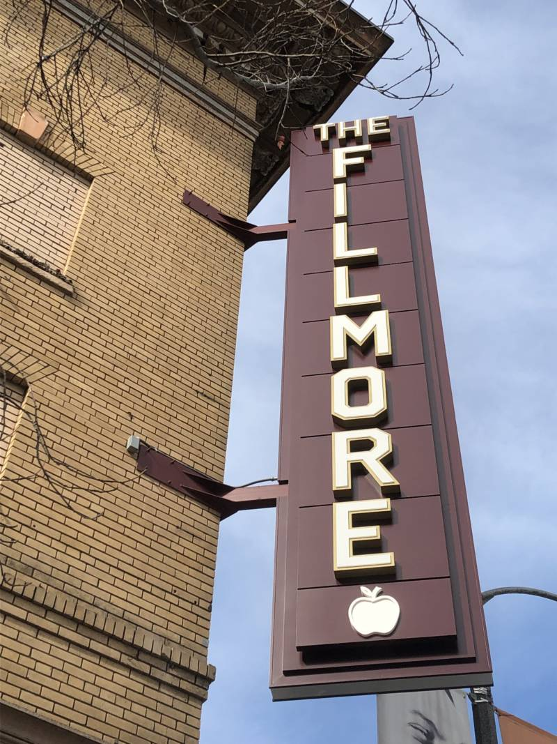 The apples are such an iconic part of the Fillmore that the theater's marquee includes one.