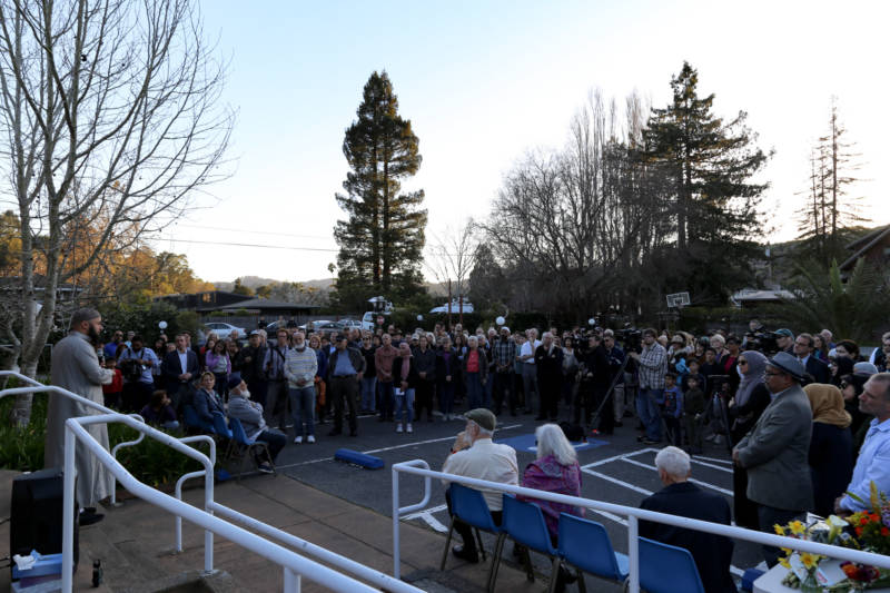 More than a hundred people gathered in the parking lot of the Islamic Center of Mill Valley in the aftermath of the deadly shootings in New Zealand.