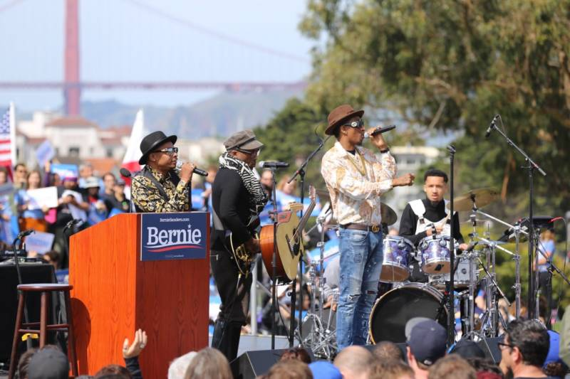 Oakland-based soul band Tony! Toni! Toné! performs at the Bernie Sanders rally.