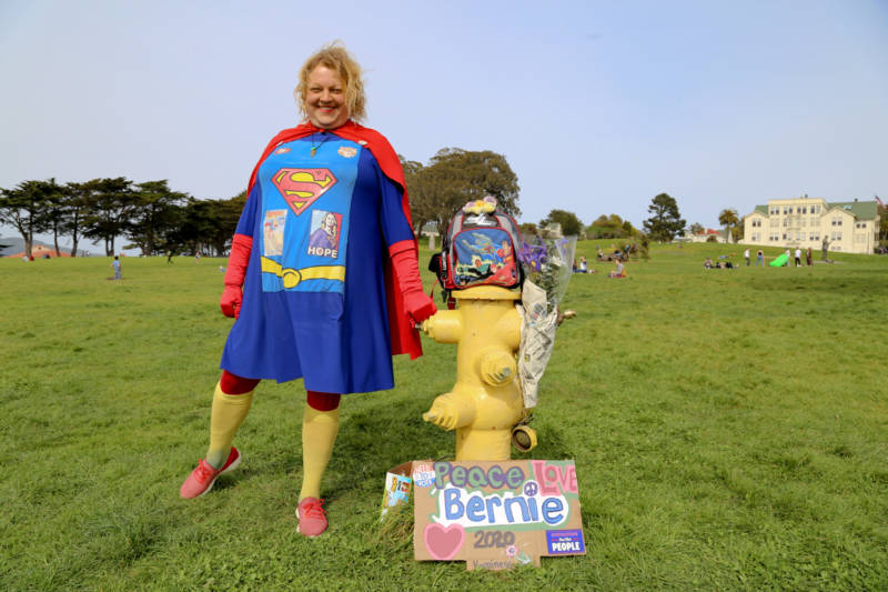 Shawn Sunshine Strickland, who calls herself the Super Girl of San Francisco, says she wants to see a Democratic ticket of Kamala Harris and Bernie Sanders.
