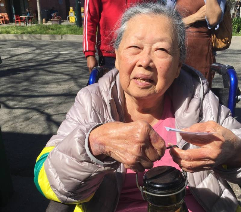 Sue Lau came to the sale with her daughter, Lei Lynn Lau, from Burlingame. Lau said people were crazy for waiting in line. 'These are all used things. You can go to the store and buy new things for less money.'