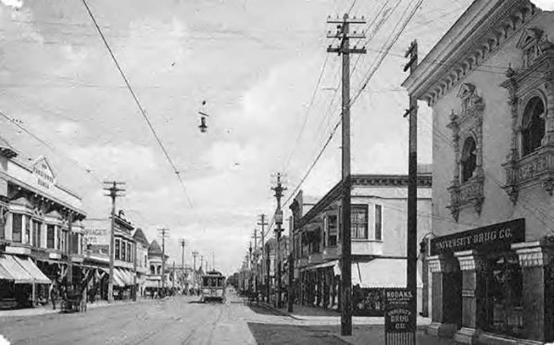 University Avenue in Palo Alto after 1906.