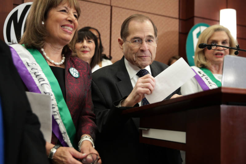 U.S. House Judiciary Committee Chairman Rep. Jerrold Nadler speaks as U.S. Rep. Jackie Speier listens during a news conference on the Equal Rights Amendment on April 30, 2019, on Capitol Hill in Washington, D.C.