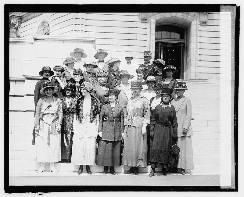 A group of suffragettes in June 1920. Alice Paul, who first called for the constitutional amendment in 1923, is third from left on the bottom row.