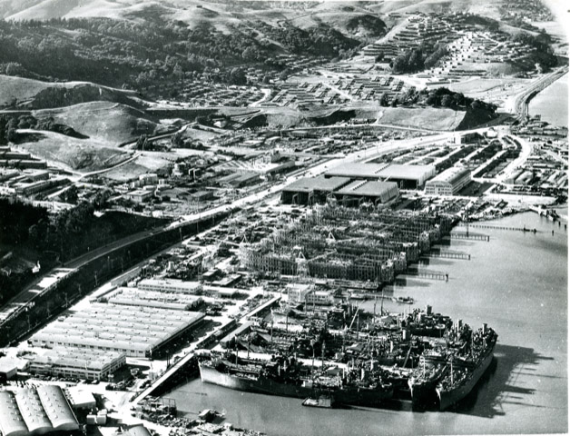 The Marinship shipyard along the Sausalito waterfront in 1943. After the war, a local shipyard worker acquired much of the land and excess materials and gave them to returning soldiers and free spirits to live on.