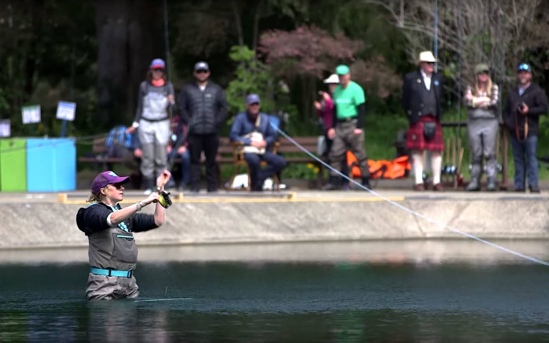 A competitor prepares to cast in the Spey-O-Rama world fly fishing championships in San Francisco.