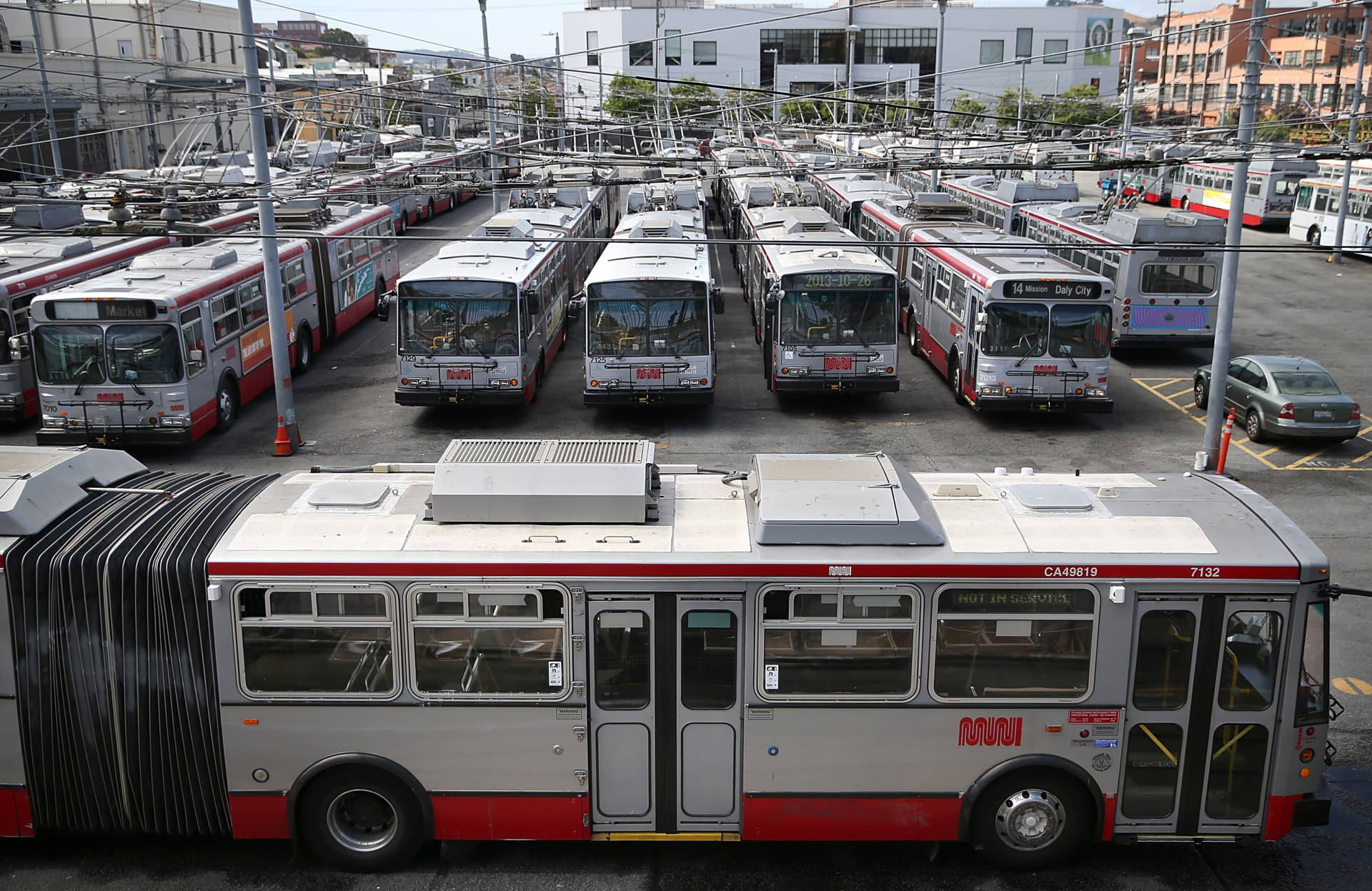 San Francisco Muni's Potrero Division bus yard, seen during a 2014 'sickout' staged by drivers during a contract dispute.  Justin Sullivan/Getty Images